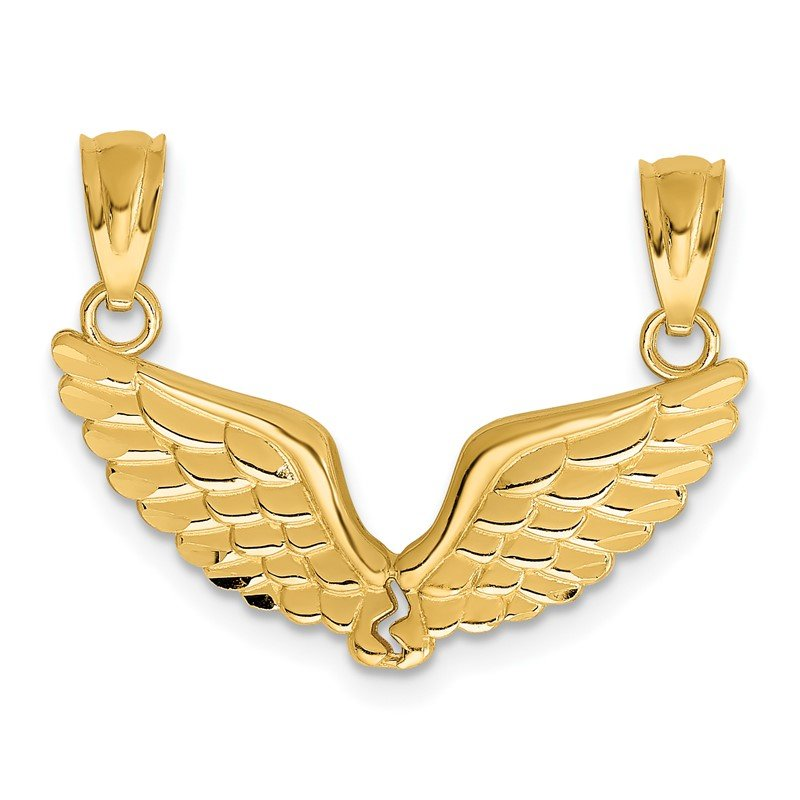 Quality Gold 14K Polished 2 Piece Break Apart Angel Wings Pendants