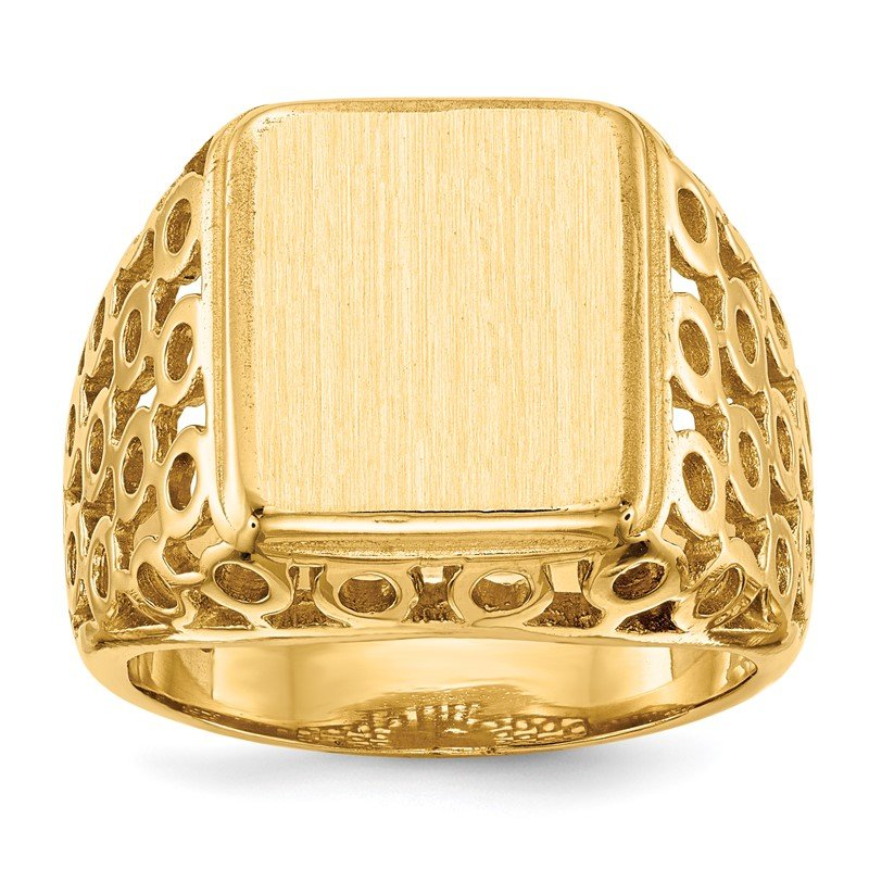 Quality Gold 14k 14.5 x 12.5mm Open Back Men's Signet Ring