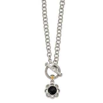Sterling Silver w/ 14K Accent Onyx and Diamond Toggle Necklace