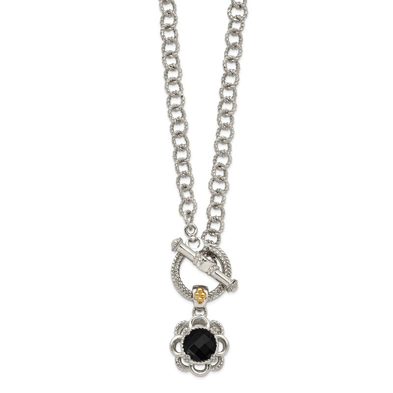 Shey Couture Sterling Silver w/ 14K Accent Onyx and Diamond Toggle Necklace