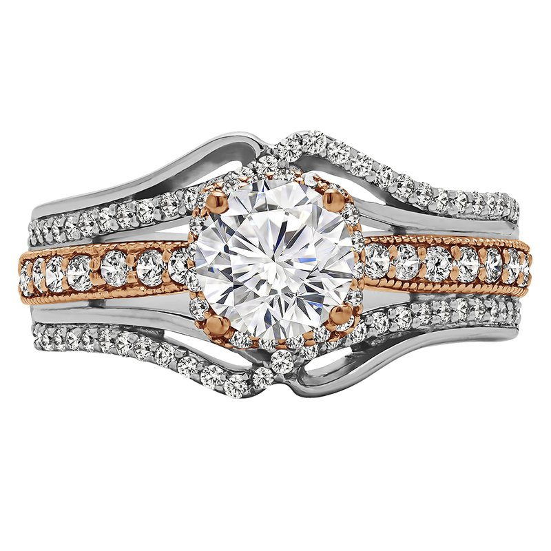 True Romance Round Cut Halo Diamond Vintage Engagement Ring