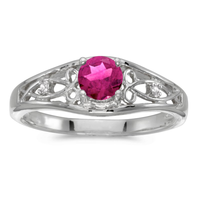Color Merchants 10k White Gold Round Pink Topaz And Diamond Ring