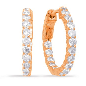 Rose Gold Hoop Earring- 2 Prongs
