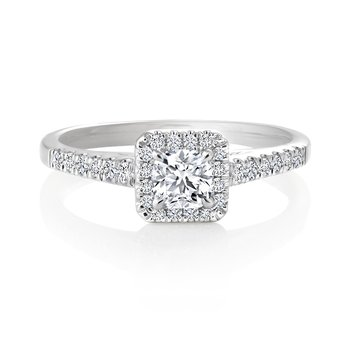 Classic Ideal Cushion Halo Diamond Engagement Ring with Pavé Set Diamonds