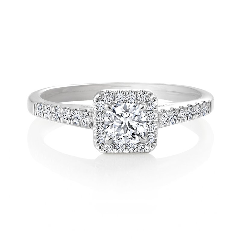 Canadian Rocks Classic Ideal Cushion Halo Diamond Engagement Ring with Pave Set Diamonds