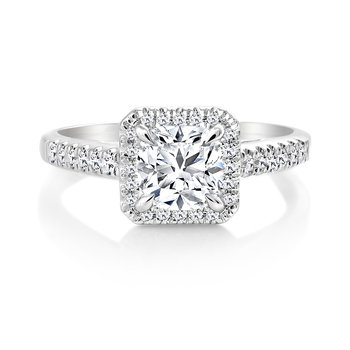 Classic Ideal Cushion Halo Diamond Engagement Ring with Pave Set Diamonds