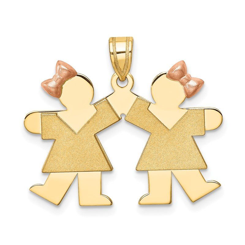 Quality Gold 14k Two-Tone Small Double Girls Engravable Charm