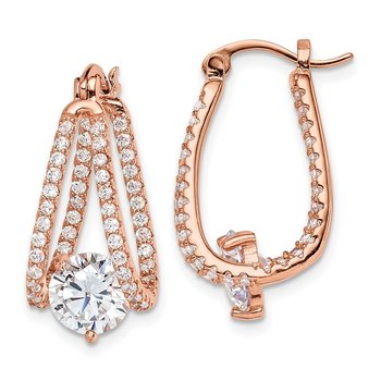Sterling Silver Rose-tone CZ Hoop Earrings