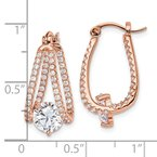 Quality Gold Sterling Silver Rose-tone CZ Hoop Earrings