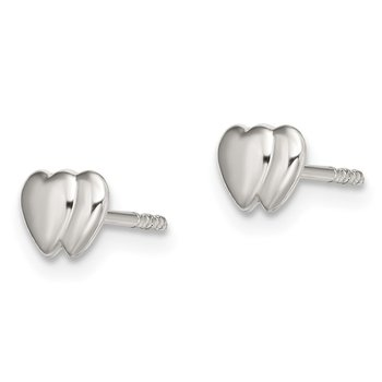 Sterling Silver Double Heart Post Earrings