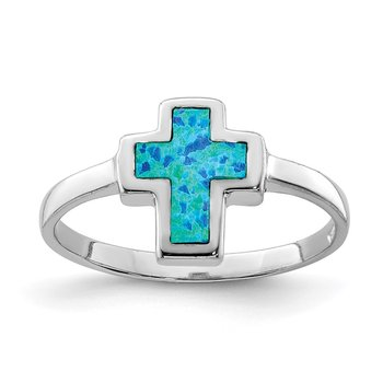 Sterling Silver Rhodium-plated Polished Cross Synthetic Opal Ring