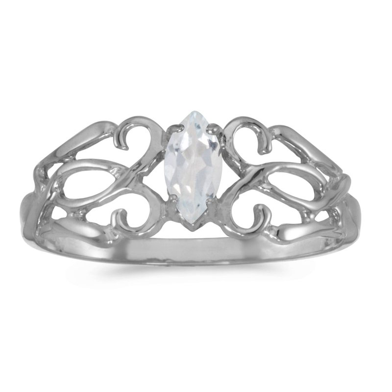 Color Merchants 10k White Gold Marquise White Topaz Filagree Ring