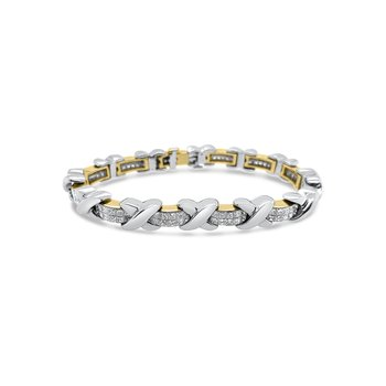 18K Two-Tone Gold Invisible Set Diamond Princess Bracelet