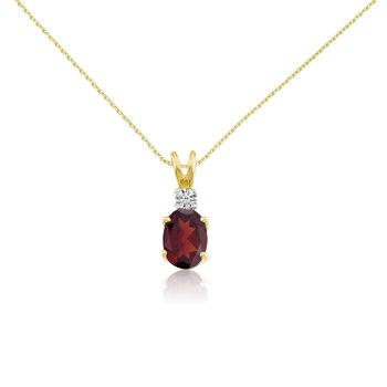 14k Yellow Oval Garnet and Diamond Pendant