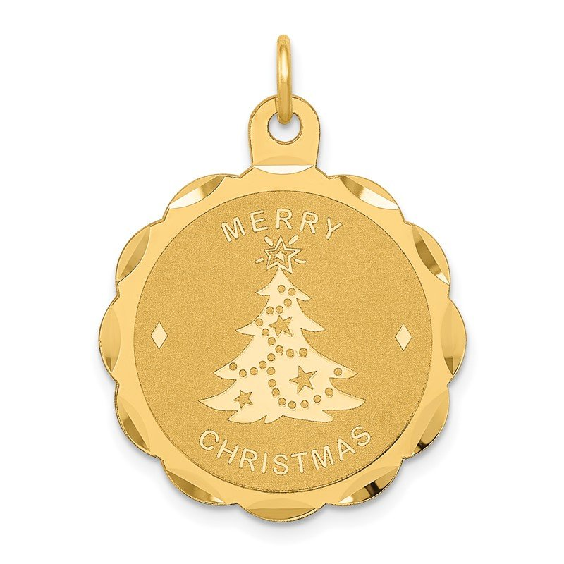 Quality Gold 14k Merry Christmas Disc Charm
