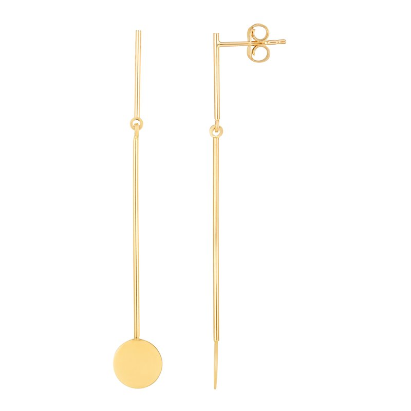 Royal Chain 14k Gold Round Drop Earrings
