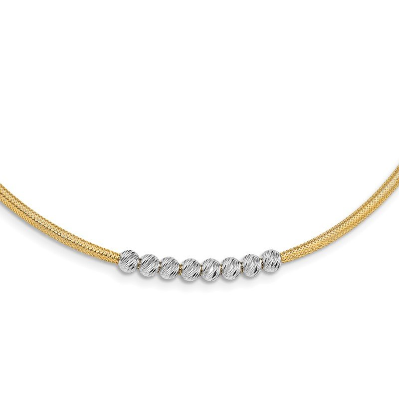 Quality Gold 14K Two-tone D/C Beads Stretch Mesh Necklace