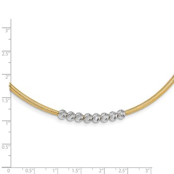 14K Two-tone D/C Beads Stretch Mesh Necklace