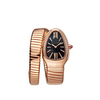 Serpenti Tubogas watch, 35 mm rose gold case set with diamonds. Single-spiral rose gold bracelet. Black opaline dial
