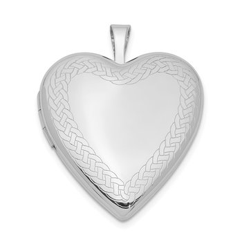 Sterling Silver Rhodium-plated Braided Edge Heart Locket