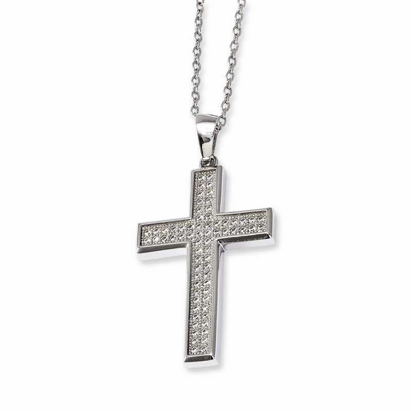 Arizona Diamond Center Collection Sterling Silver & CZ Brilliant Embers Polished Cross Necklace