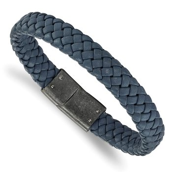 Stainless Steel Brushed Blue Braided Genuine Leather 8.25in Bracelet