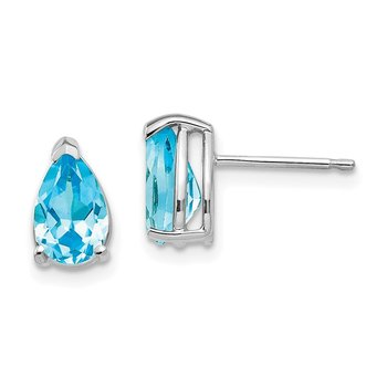 14k White Gold 8x5mm Pear Blue Topaz Earrings