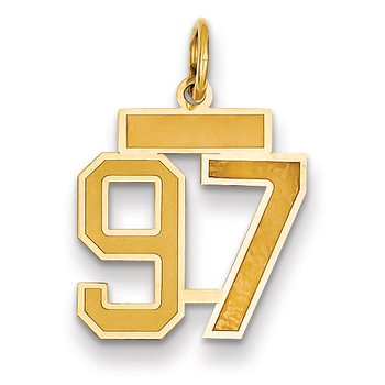14k Small Satin Number 97 Charm