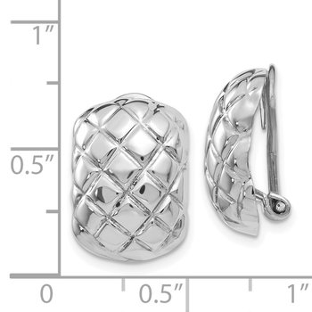 14k White Gold Polished Quilted Non-pierced Omega Back Earrings