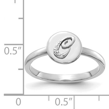 14k White Gold Diamond Initial C Ring