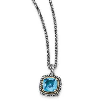 Sterling Silver w/14k Lt Swiss Blue Topaz Necklace