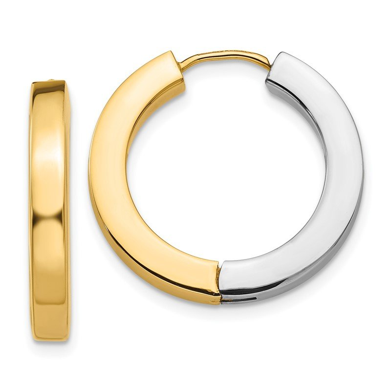 Quality Gold 14k Two-tone Gold Polished Hollow Hinged Hoop Earrings