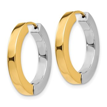 14k Two-tone Gold Polished Hollow Hinged Hoop Earrings