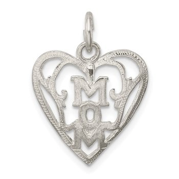 Sterling Silver Mom in Heart Pendant