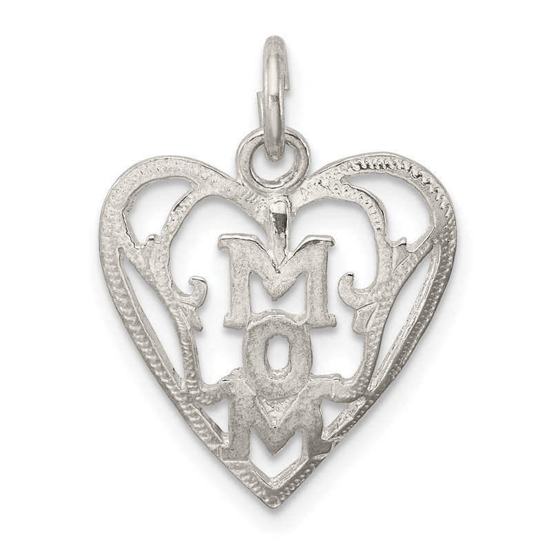 Quality Gold Sterling Silver Mom in Heart Pendant