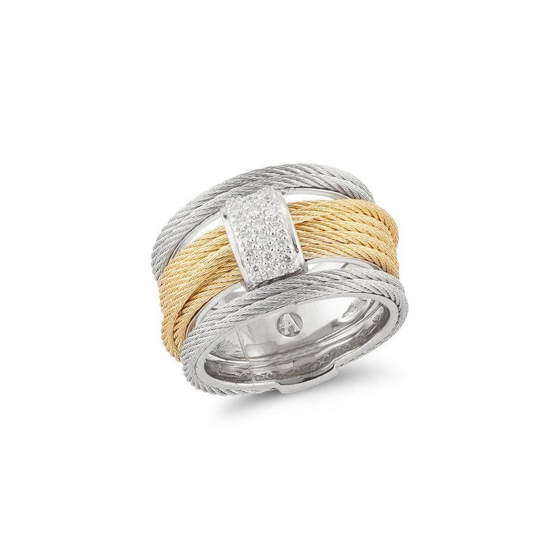 ALOR Yellow & Grey Cable Simple Stack Ring with 18kt White Gold & Diamonds