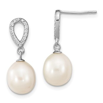 Sterling Silver RH 8-9mm Rice FWC Pearl CZ Post Dangle Earrings