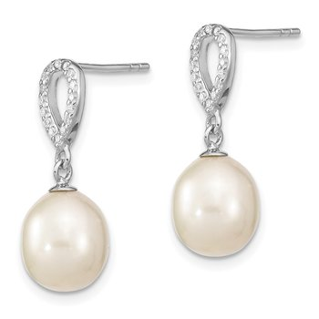 Sterling Silver Rhodium-plated 8-9mm Rice FWC Pearl CZ Post Dangle Earrings