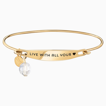 Live With All Your Heart ID Bangle - Gold