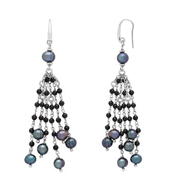 Honora Sterling Silver 6-8mm Black Ring Freshwater Cultured Pearl Faceted Spinel Tassle Earrings