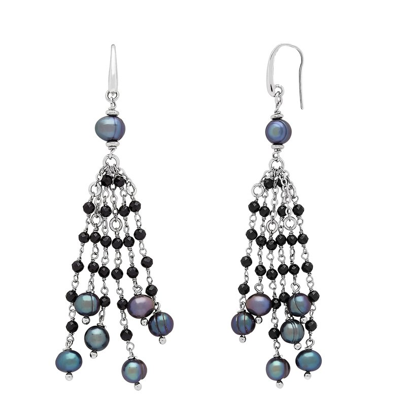 Honora Honora Sterling Silver 6-8mm Black Ring Freshwater Cultured Pearl Faceted Spinel Tassle Earrings