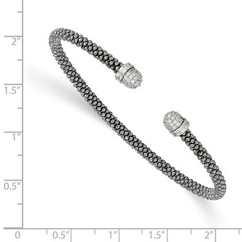Leslie's Sterling Silver Ruthenium-plated CZ Cuff Bangle