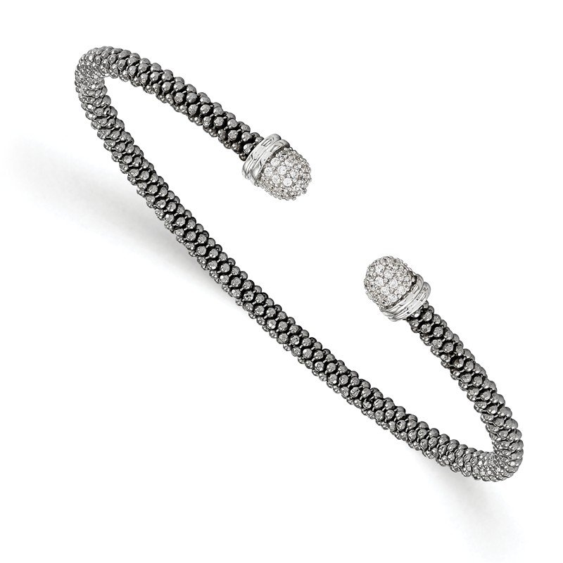 Leslie's Leslie's Sterling Silver Ruthenium-plated CZ Cuff Bangle