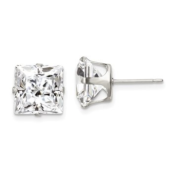 Sterling Silver 9mm Square Snap Set CZ Stud Earrings