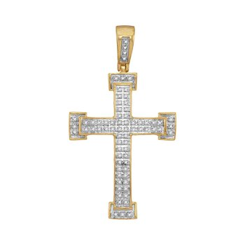 10kt Yellow Gold Mens Round Diamond Roman Cross Religious Charm Pendant 1/5 Cttw