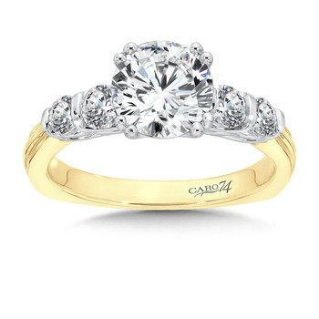 Engagement Ring With Side Stones in 14K Yellow and White Gold (1-1/2ct. tw.)