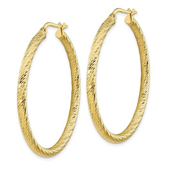 10k 3x35 Diamond-cut Round Hoop Earrings