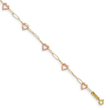 14k Two-tone Adjustable Heart 9in Plus 1in extension Anklet