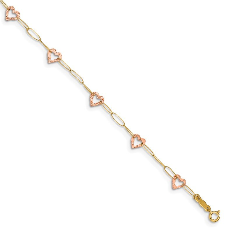 Quality Gold 14k Two-tone Adjustable Heart 9in Plus 1in extension Anklet