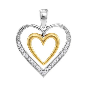 10kt Two-tone Gold Womens Round Diamond Dangling Nested Heart Love Pendant 1/10 Cttw